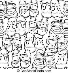 grands traits, seamless, enfants, chaussures, modèle, peu