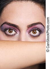 grands yeux, femme, beauté