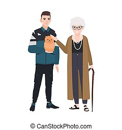 Grandson and grandmother petting little dog. Family portrait of old lady and teenage boy standing together. Adorable cartoon characters isolated on white background. Colorful flat vector illustration.