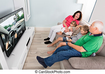Grandson Playing Videogame With His Grandparents At Home