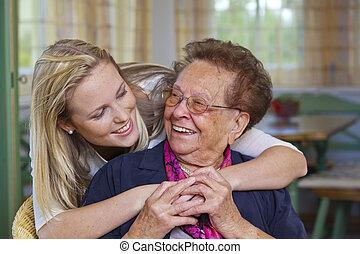 grandson visits grandmother
