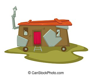 granero, casa, abandonado, resistido, o, furgoneta, viejo, ...