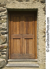 granero, madera, asegurado, puerta, candado