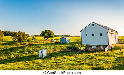 granero, rural, pennsylvania., granja, york, condado