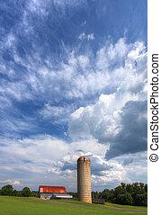granero, viejo, silo