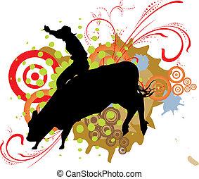grange, cavalcade, taureau