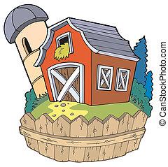 grange, dessin animé, barrière, rouges