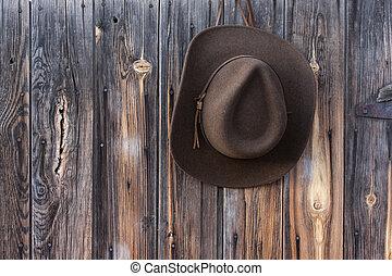 grange, feutre, mur, chapeau, cow-boy