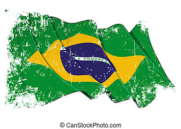 Grange Flag of Brazil - Grunge cut waving flag with clipping...