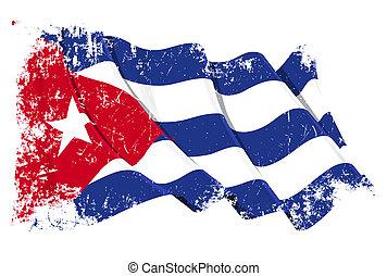 Grange Flag of Cuba - Grunge illustration of a waving Cuban...