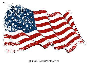 Grange Flag of USA - Grunge illustration of a waving...