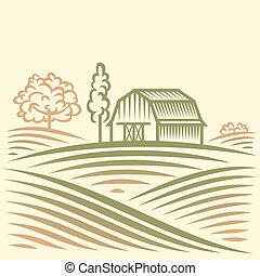grange, paysage, arbres