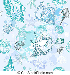Sea background. Hand drawn vector illustration - Grange Sea ...