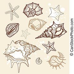 Sea collection. Hand drawn vector illustration