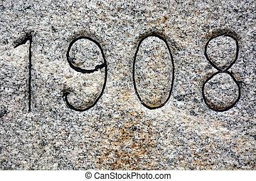 granit, bakgrund, med, 1908, år