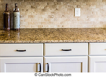 granit, countertop, i, dachówka, backsplash