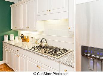 granit, countertops, nymodig, kök, färsk