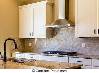 granit, et, carreau, cuisine, dans, chaud, couleurs