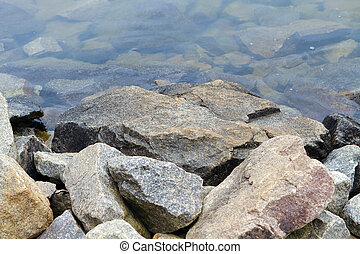 granit, long, rivage, lac, galets
