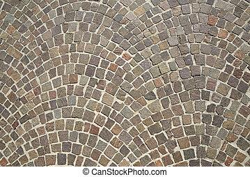 granit, trottoir, vieux, pavé