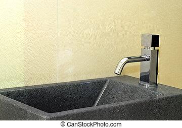 Granite basin - Small grey granite basin and silver faucet