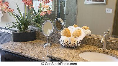 Granite bathroom counter and vanity