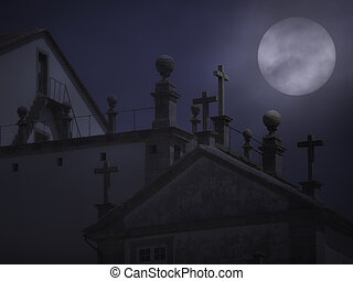 Granite crosses in a foggy full moon night