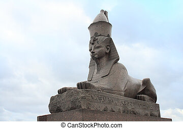 Granite Egypt sphinx on the Neva River embankment. St....