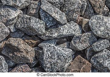 granite gravel, stone on the floor, outdoor ground