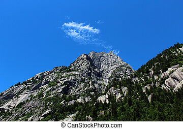 Granite mountain covered by pine trees with white cloud
