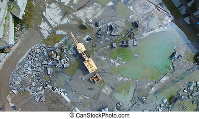 Granite quarry mining. aerial survey - Flying over the stone...