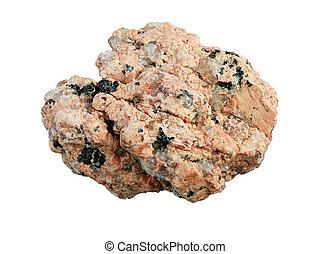 granite rock macro - macro of pink granite rock isolated on...