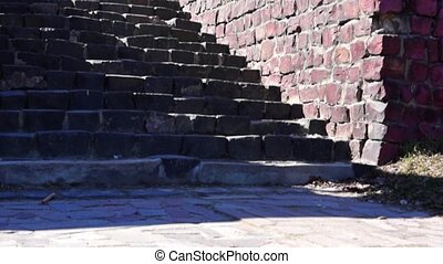 Granite stairs and old house