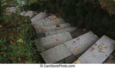 Granite Stairway in Japanese Garden
