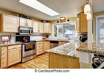 granito, brillante, Tapas, claraboya, cocina