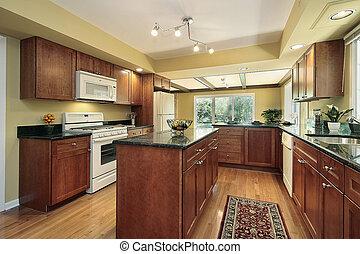 granito, cocina, negro, mostradores