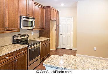 granito, countertops, in, nuovo, cucina