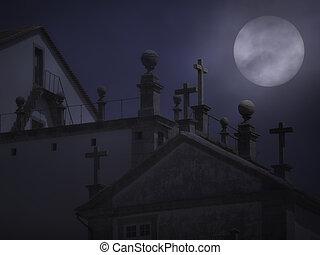 granito, croci, in, uno, nebbioso, luna piena, notte