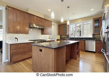 granito, cucina, isola