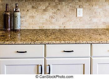 granito, encimera, y, azulejo, backsplash