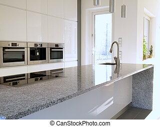 granito, moderno, cocina, encimera