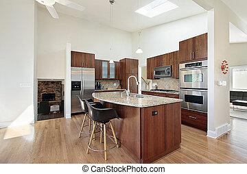 granito, modernos, cozinha, ilha