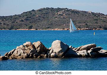 granito, rocas, en, el, mar
