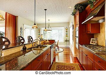 granito, topos, luxo, cozinha