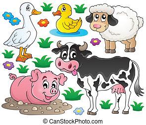 granja, 1, conjunto, animales