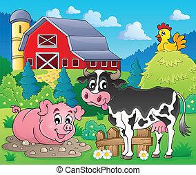 granja, 1, tema, animales, imagen