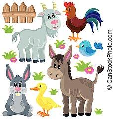 granja, 3, conjunto, animales