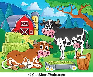 granja, 8, tema, animales, imagen