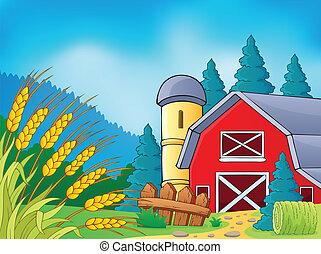 granja, 9, tema, imagen