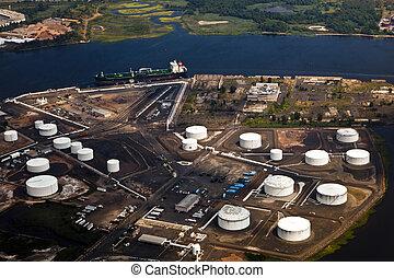 granja, aceite, río